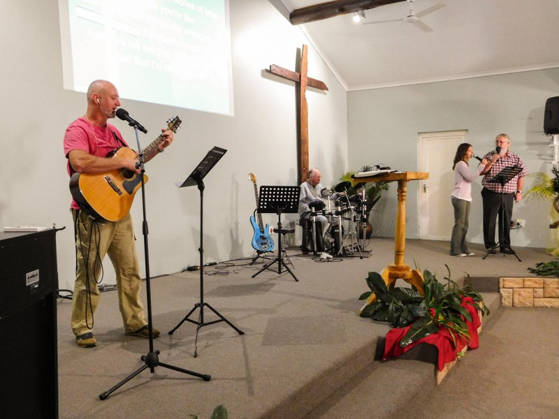 Living Word Worship band performing