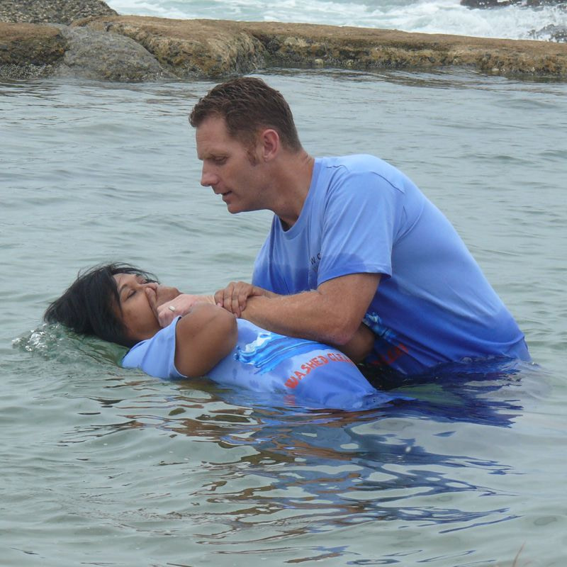 Adult being baptised